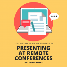 Graphic showing a laptop with caption: Presenting at Remote Conferences